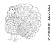 detailed zentangle turkey for... | Shutterstock .eps vector #322205321
