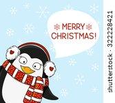 christmas penguin on snow... | Shutterstock .eps vector #322228421