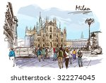 cathedral square in milan....   Shutterstock .eps vector #322274045