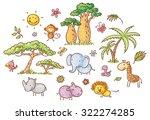 set of cartoon exotic african... | Shutterstock .eps vector #322274285