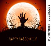 halloween background with moon... | Shutterstock . vector #322283231