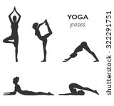 woman in yoga poses asanas set... | Shutterstock . vector #322291751