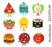 funny cartoon fruit  food and... | Shutterstock .eps vector #322299149
