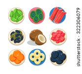 set of colourful candied friuts ... | Shutterstock .eps vector #322306079