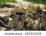 A Stack Of Firewood Close Up