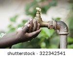 poor african black boy holding... | Shutterstock . vector #322342541