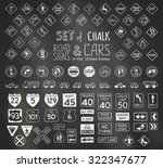 Vector Set Of Chalk Road Signs...