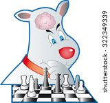 little smart dog with chess | Shutterstock .eps vector #322349339