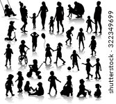 children silhouettes isolated... | Shutterstock .eps vector #322349699