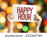 happy hour placard with bokeh...   Shutterstock . vector #322365764