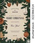 vintage vector card. christmas...   Shutterstock .eps vector #322386314