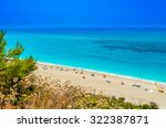 milos beach on lefkada island ... | Shutterstock . vector #322387871