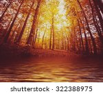 Stock photo lake in autumn forest beautiful nature background 322388975