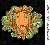 vector illustration with lion... | Shutterstock .eps vector #322396505