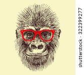 Stock vector vector drawing handmade face orangutan monkey wearing glasses fashionable funny monkey 322399277