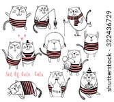 Set Of Cute Cats Vector...