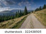 dirt road on grassy mountain... | Shutterstock . vector #322438505