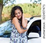 girl portrait with white car... | Shutterstock . vector #322457471