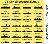 set of 28 city silhouette in... | Shutterstock .eps vector #322472045