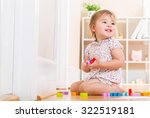happy toddler girl smiling and... | Shutterstock . vector #322519181