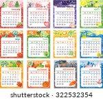 cartoon multicolored calendar... | Shutterstock . vector #322532354