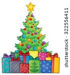 christmas tree and gifts theme... | Shutterstock .eps vector #322556411