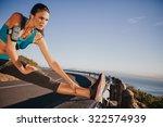 outdoor shot of woman...   Shutterstock . vector #322574939