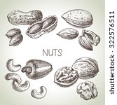 hand drawn sketch nuts set.... | Shutterstock .eps vector #322576511