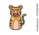 chinese zodiac tiger doodle | Shutterstock .eps vector #322586444