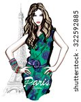young pretty fashion model with ... | Shutterstock .eps vector #322592885