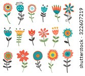 beautiful collection of floral... | Shutterstock .eps vector #322607219