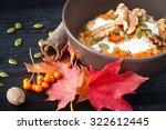 healthy breakfast of pumpkin... | Shutterstock . vector #322612445