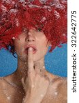 Charming Woman In Red Wig  Wit...