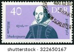 Small photo of GERMAN DEMOCRATIC REPUBLIC - CIRCA 1964: A stamp printed in GDR Germany shows William Shakespeare (1564-1616), 400th birth anniversary, circa 1964