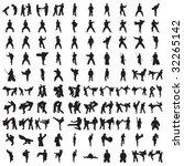 hundred karate silhouettes   Shutterstock .eps vector #32265142