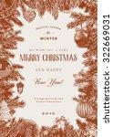 vintage vector card. christmas... | Shutterstock .eps vector #322669031