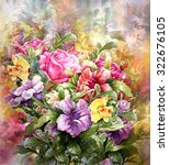 bouquet of multicolored flowers ... | Shutterstock . vector #322676105