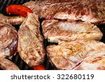 steak being cooked on griddle  | Shutterstock . vector #322680119