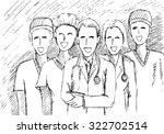 hand drawn team of medical | Shutterstock .eps vector #322702514