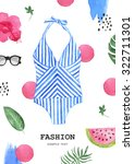 summer outfit. collection of... | Shutterstock . vector #322711301