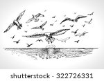 sea landscape with seagulls.... | Shutterstock .eps vector #322726331