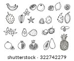 set of exotic fruits. doodle ... | Shutterstock .eps vector #322742279