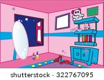 cartoon style girl pink room | Shutterstock .eps vector #322767095