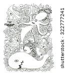 ocean creatures coloring page | Shutterstock . vector #322777241