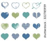 vector set of sketch hearts   Shutterstock .eps vector #322785959