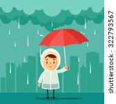 cute cartoon kid with umbrella... | Shutterstock .eps vector #322793567