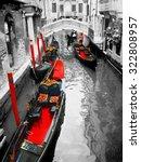 gondolas on venice in oil... | Shutterstock . vector #322808957
