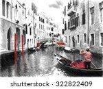 gondolas on venice. digital...   Shutterstock . vector #322822409