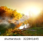 Fog Over River In Forest In Th...