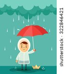 cute cartoon kid with umbrella... | Shutterstock .eps vector #322846421